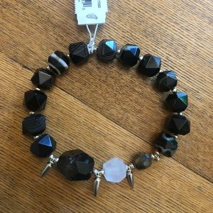 Kendra Scott Sadie Black Gold Stretch Bracelet